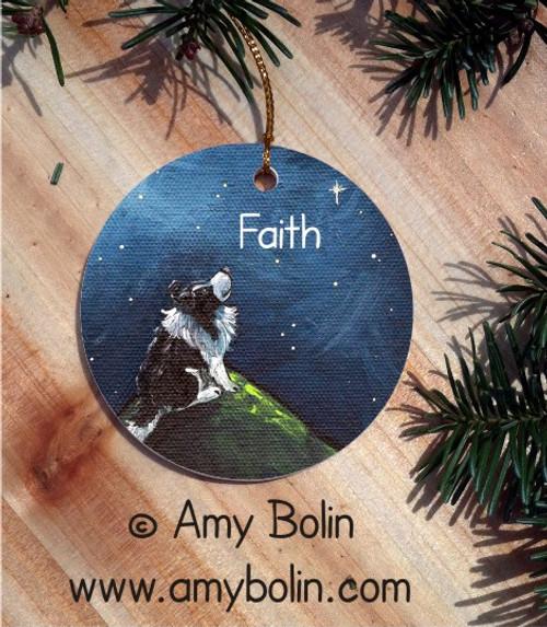 """Faith"" Bi Black Shetland Sheepdog Ceramic Ornament Round"