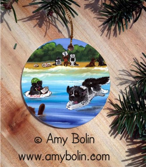 """Water Rescue 101"" Black, Brown & Landseer Newfoundland Ceramic Ornament Round"
