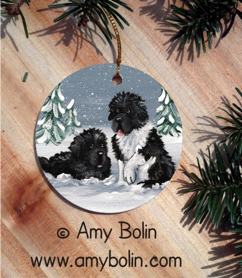 """Winter Buddies"" Black & Landseer Newfoundland Ceramic Ornament Round"