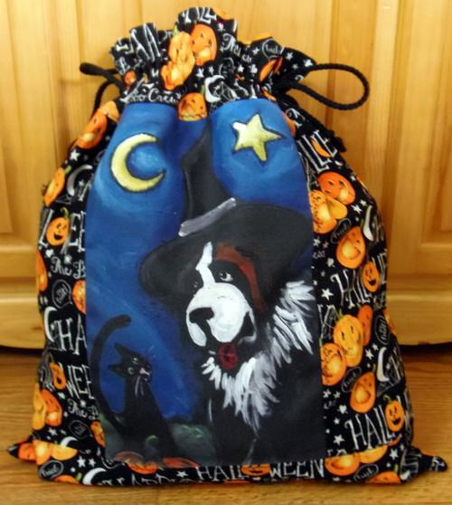 "LARGE 21"" BY 29""  Handmade Gift Bag   ""Happy Halloween 2""  Saint Bernard  By Dawn Johnson"