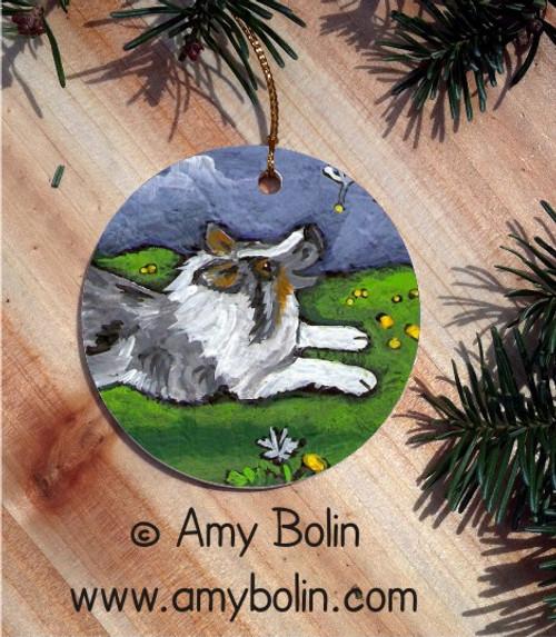 """Spring's Simple Pleasures"" Blue Merle Shetland Sheepdog Ceramic Ornament Round"