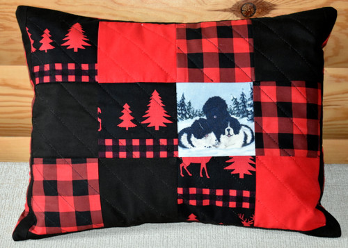 "Handmade Quilted 12"" by 16"" Pillow    ""Winter Buddies 2""   Black Newfoundland, Landseer  By Dawn Johnson"