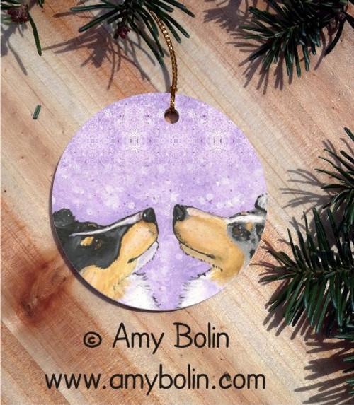 """Wish Upon A Snowflake"" Blue Merle & Tri Color Shetland Sheepdog Ceramic Ornament Round"