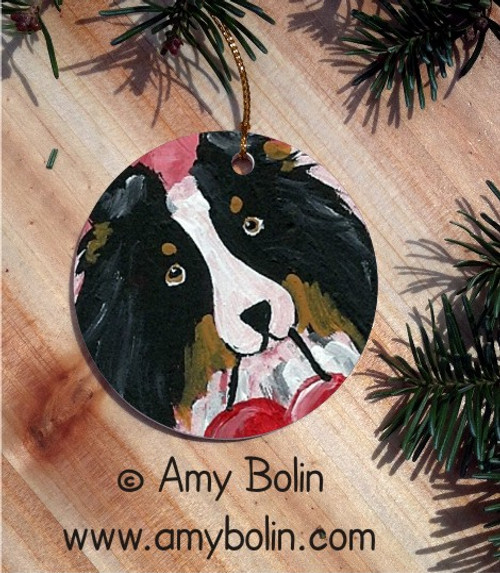 """Be My Valentine"" Tri Color Shetland Sheepdog Ceramic Ornament Round"