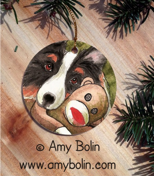 """Cuddle Monkey"" Tri Color Shetland Sheepdog Ceramic Ornament Round"