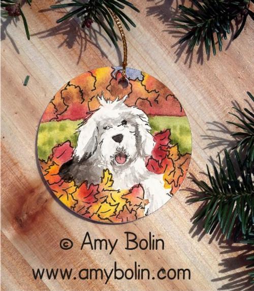 """Leaf Romp"" Old English Sheepdog Ceramic Ornament Round"