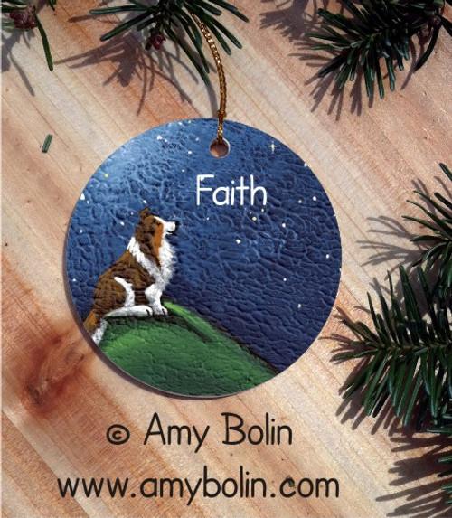 CERAMIC ORNAMENT · FAITH · SABLE SHELTIE · AMY BOLIN