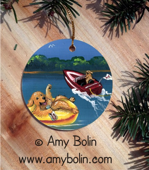 CERAMIC ORNAMENT · GOLDENS ON THE LAKE 1  · GOLDEN RETRIEVER · AMY BOLIN