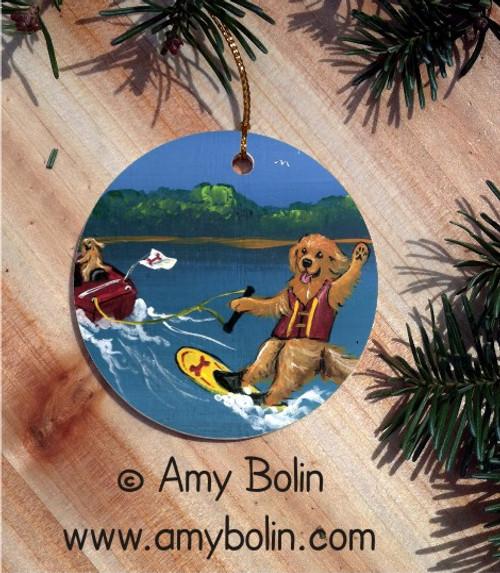 CERAMIC ORNAMENT · GOLDENS ON THE LAKE 2  · GOLDEN RETRIEVER · AMY BOLIN