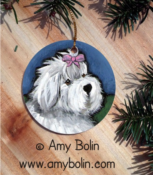 """""""All Gussied Up"""" Old English Sheepdog Ceramic Ornament Round"""