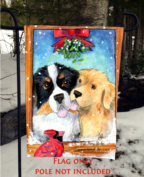 """Under The Mistletoe"" Bernese Mountain Dog, Golden Retriever Garden Flag"
