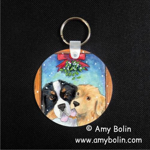 """Under The Mistletoe"" Bernese Mountain Dog & Golden Retriever Keychain"