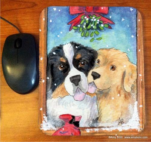 """Under The Mistletoe"" Bernese Mountain Dog & Golden Retriever Mouse Pad"