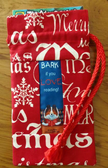 "MINI 10"" by 7""   Handmade Gift Bag   ""Dog Tails""   Vol 3   ""Bark If You Love Reading""  Shetland Sheepdog    By Dawn Johnson"