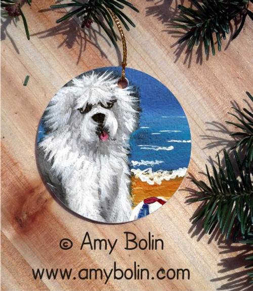 """Beach Bum"" Old English Sheepdog Ceramic Ornament Round"