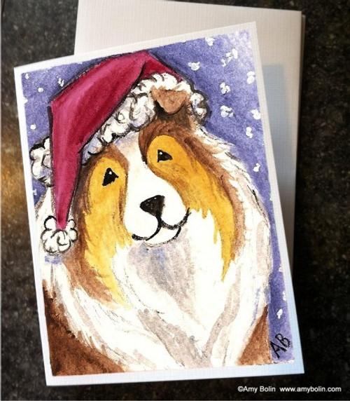 """Christmas: Santa"" Sable Shetland Sheepdog Note Cards"