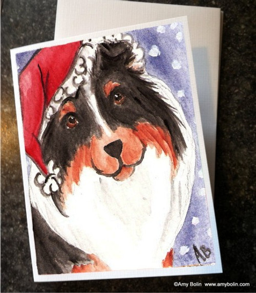 """Christmas: Santa"" Tri Color Shetland Sheepdog Note Cards"