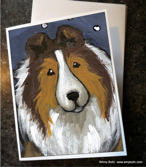 """""""In The Snow Again"""" Sable Shetland Sheepdog Note Cards"""