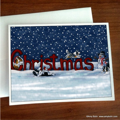 """A Christmas Celebration"" Bi Black, Blue Merle, Sable, Tri Color Shetland Sheepdog Note Cards"