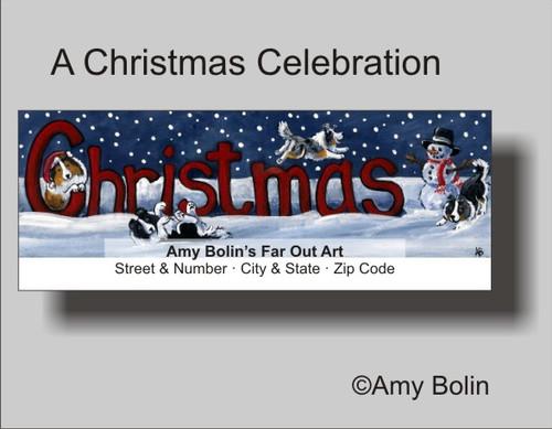 """""""A Christmas Celebration"""" Bi Black, Blue Merle, Sable, Tri Color Shetland Sheepdog Address Labels"""