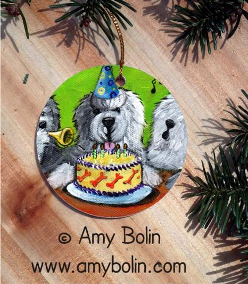 """Happy Birthday To You"" Old English Sheepdog Ceramic Ornament Round"