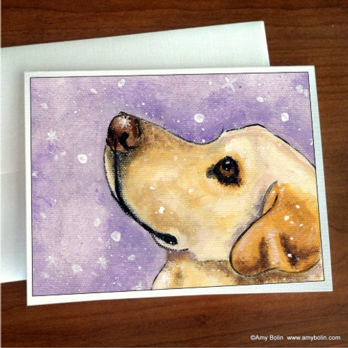 """Wish Upon A Snowflake"" Yellow Labrador Retriever Note Cards"
