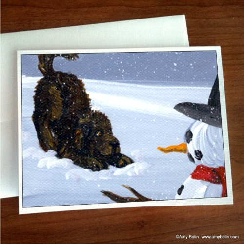 """My Snowy Friend"" Brown Newfoundland Note Cards"