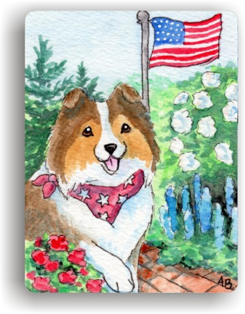 """""""Proud To Be American"""" Sable Sheltie Magnet"""