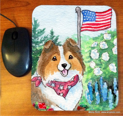 """Proud To Be American"" Sable Shetland Sheepdog Mouse Pad"