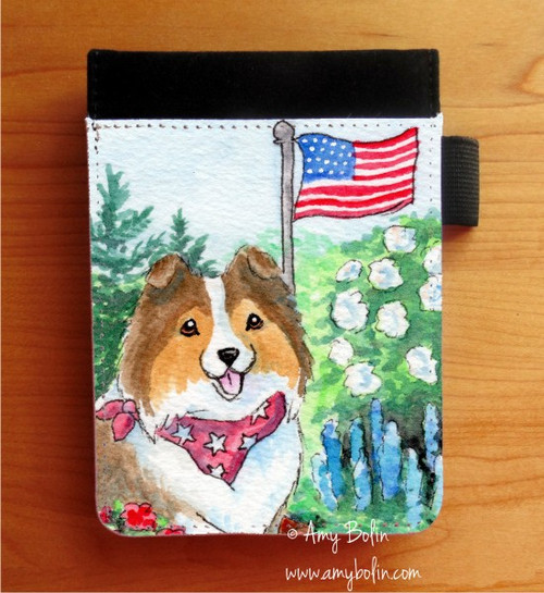 """""""Proud To Be American"""" Sable Shetland Sheepdog Notebooks (several sizes available)"""