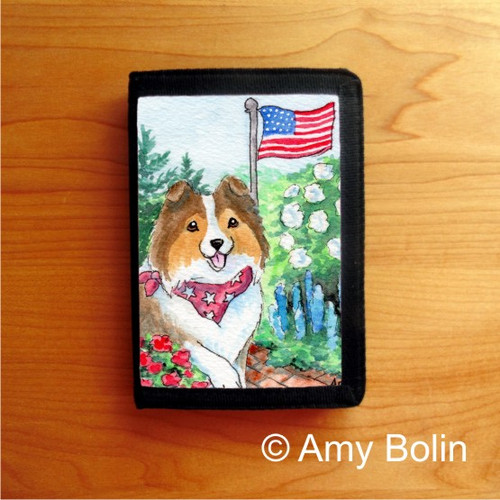 """""""Proud To Be American"""" Sable Shetland Sheepdog Trifold Wallet"""