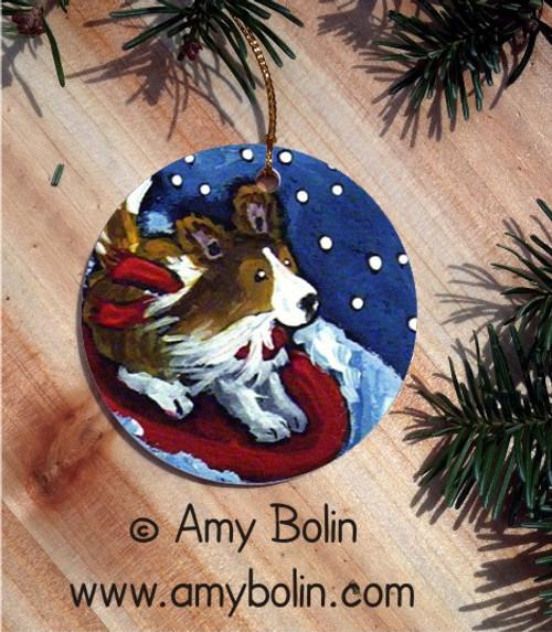 """A Snowy Ride"" Sable Shetland Sheepdog Ceramic Ornament Round"