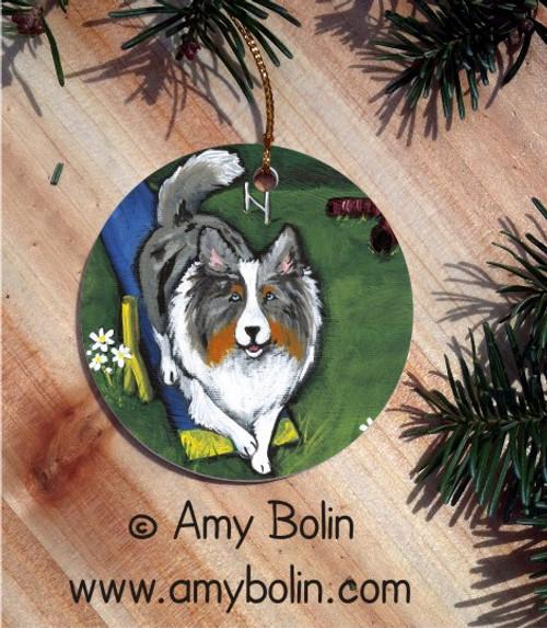 """Agility King"" Blue Merle"" Shetland Sheepdog Ceramic Ornament Round"