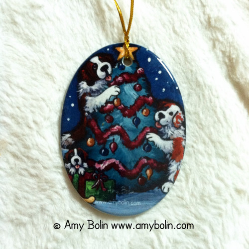 """Christmas Together"" Saint Bernard Ceramic Ornament Oval"