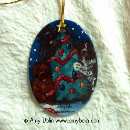 """""""Christmas Together"""" Black, Brown & Landseer Newfoundland Ceramic Ornament Oval"""