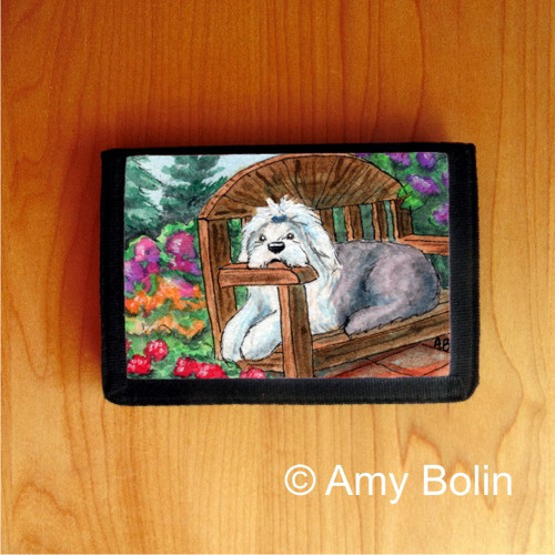 """""""Summer's Simple Pleasures"""" Old English Sheepdog Trifold Wallet"""