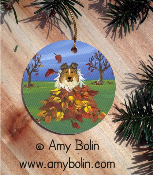 """Autumn's Simple Pleasures"" Sable Shetland Sheepdog Ceramic Ornament Round"