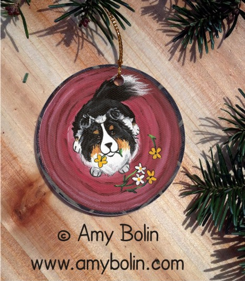 """Be Mine"" Tri Color Shetland Sheepdog Ceramic Ornament Round"
