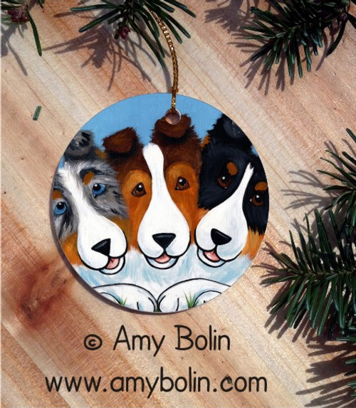 """BFF's"" Blue Merle, Sable & Tri Color Shetland Sheepdog Ceramic Ornament Round"