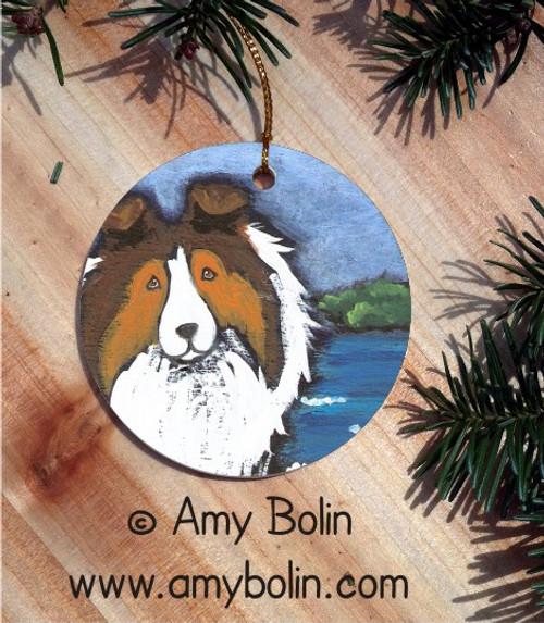 """Day At The Beach"" Sable Shetland Sheepdog Ceramic Ornament Round"