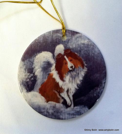 """Dog Barks And Angel Wings"" Sable Shetland Sheepdog Ceramic Ornament Round"