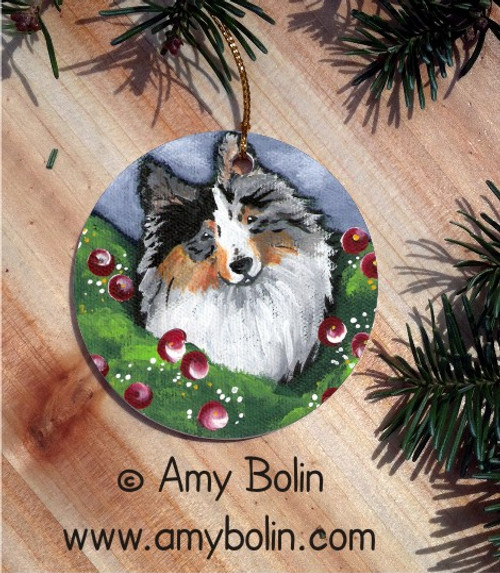 """Ella"" Blue Merle Shetland Sheepdog Ceramic Ornament Round"
