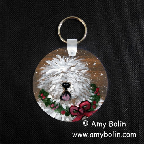 """Christmas Traditions"" Old English Sheepdog Keychain"
