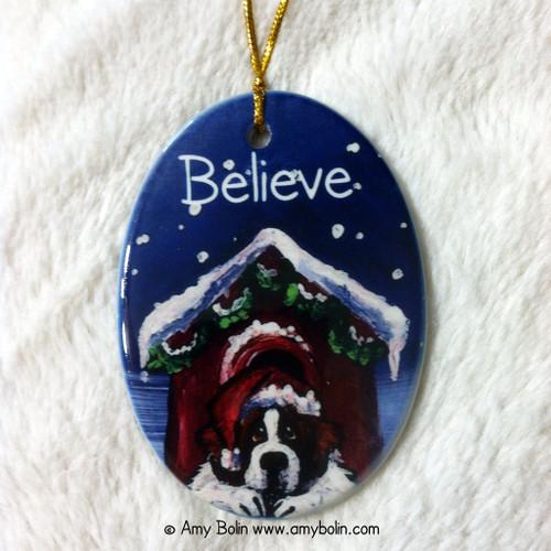 """""""Believe"""" Saint Bernard Ceramic Ornament Oval"""