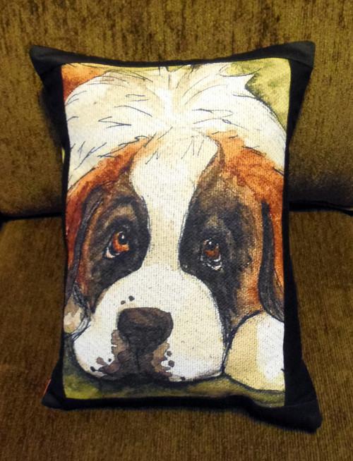 """Handmade Quilted 12"""" by 16"""" Pillow    """"Summer Pout""""   Saint Bernard   By Dawn Johnson"""