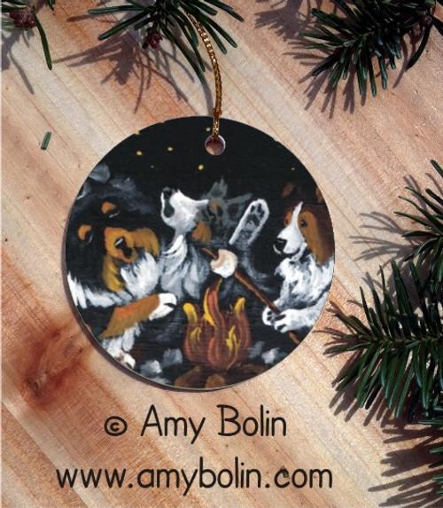 """Shelties Around The Campfire"" Blue Merle Sable & Tri Color Shetland Sheepdog Ceramic Ornament Round"