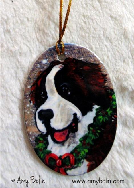 """Christmas Traditions"" Saint Bernard Ceramic Ornament Oval"