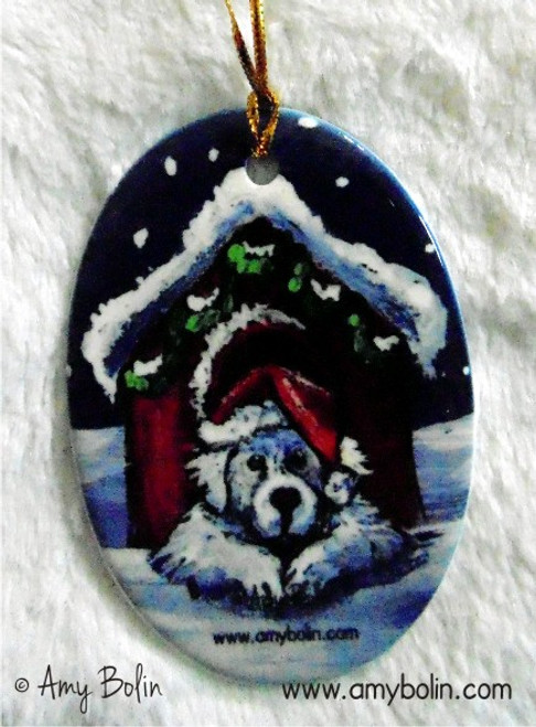 """""""Believe"""" Great Pyrenees Ceramic Ornament Oval"""