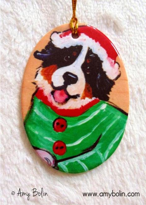 """Christmas Cuddlies"" Bernese Mountain Dog Ceramic Ornament Oval"