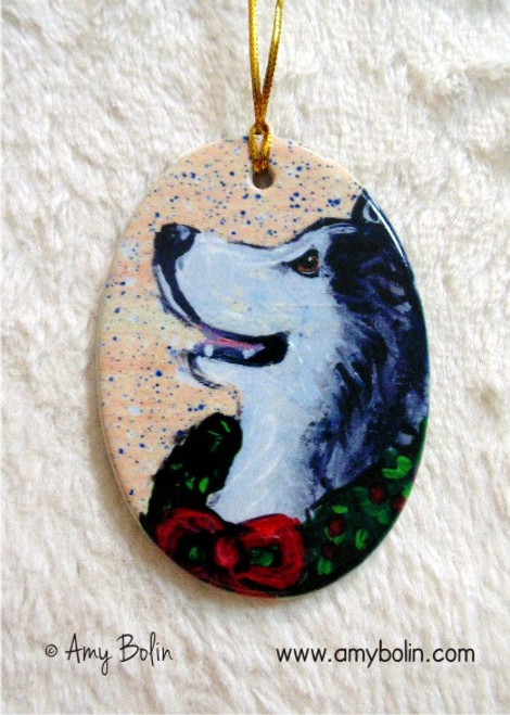 """Christmas Traditions"" Alaskan Malamute Ceramic Ornament Oval"
